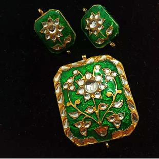 Green Color High Quality Meenakari Kundan Pendant