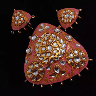 Pink With White Color High Quality Meenakari Kundan Pendant