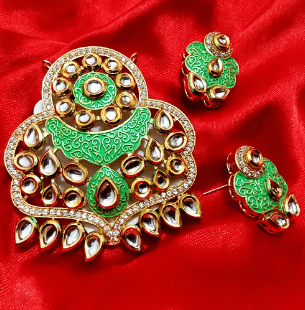 Green Color High Quality Kundan Pendant With Meenakari Work