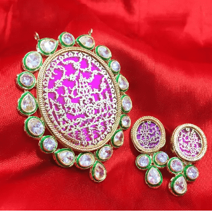 Rajasthani Thewa Work Pendant Rani Pink Color 3X2.5' Inches 1 Set (Pendant With Earring)