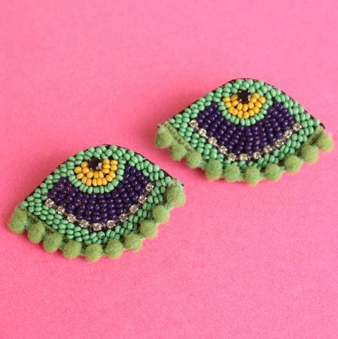 PomPom Evil Eye Earring