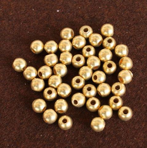 250 Pcs Solid Brass Round Beads Golden 8mm