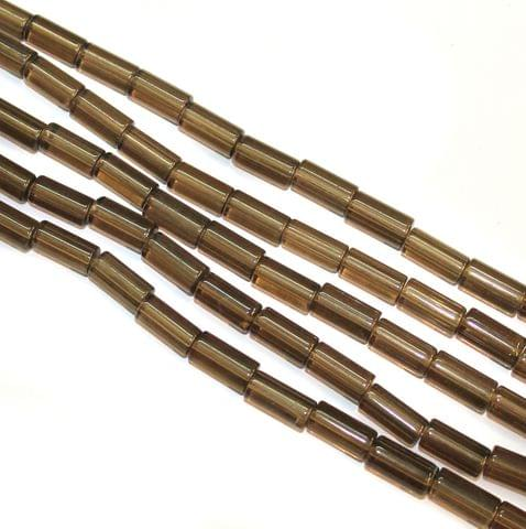 5 Strings Glass Tube Beads 12x8mm Grey