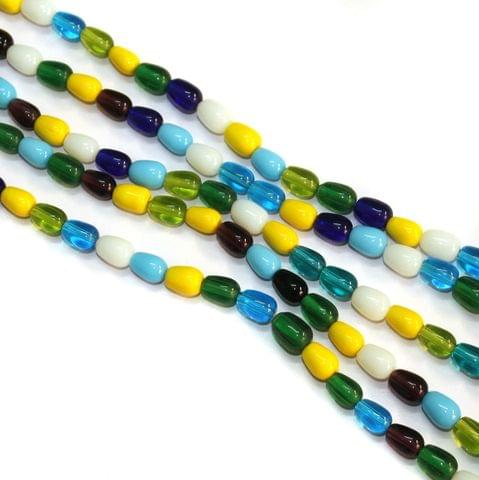 5 Strings Glass Oval Beads 10x8mm Multicolor