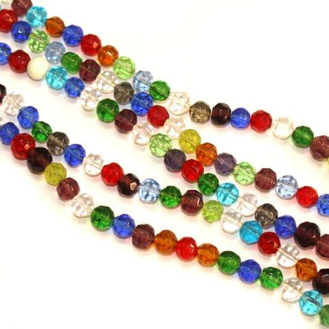5 Strings Faceted Crystal Round Beads Multicolor 8mm