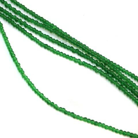 5 Strings Glass Round Beads 3mm Green