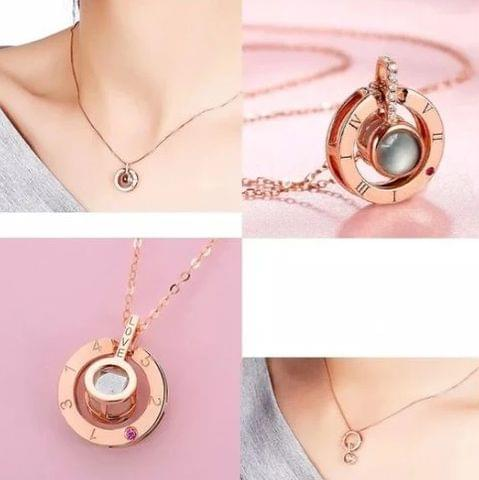 I Love You in 100 Languages Necklace Rose Gold