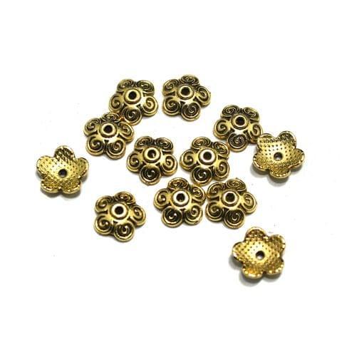 200 Pcs German Silver Beads Caps Golden 10mm
