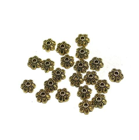 500 Pcs German Silver Beads Caps Golden 5mm