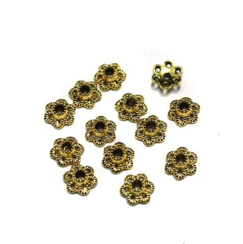 500 Pcs German Silver Beads Caps Golden 6mm
