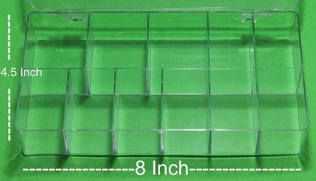Acrylic Beads Storage Box 11 Cavity 2 Pcs, 8x4.5 Inch