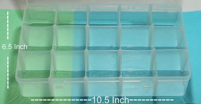 Acrylic Beads Storage Box 15 Cavity 1 Pc, 10.5x6.5 Inch