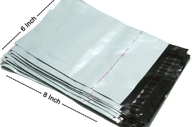 6X8 Inch Plain Temper Proof Courier Bag Pod 60 micron with document pouch (Pack of 100 Pcs)