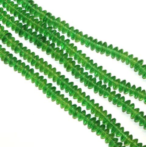 5 Strings Glass Beads Donut Shape Green 8x4mm