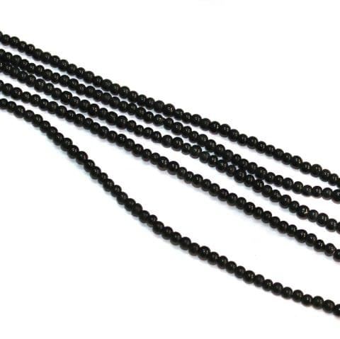 5 Strings Glass Round Beads 3mm Black