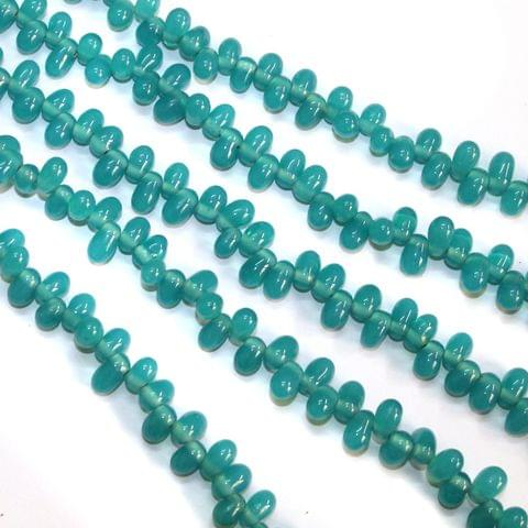 5 Strings Glass Oval Size Hole Latkan Beads Teal 7x6mm