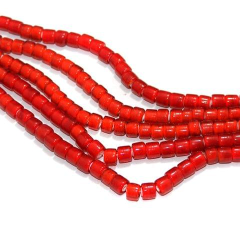 5 Strings White Heart Tyre Beads Red 8mm