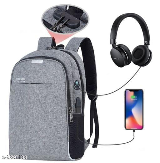 Business Laptop Water Resistant Anti-Theft Backpack with USB Charging Port and Lock 15.6 Inch Computer Backpacks for unisex (Gray)