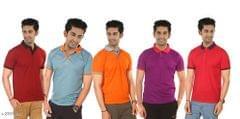 Men's Polyester Polo T-shirt - Set Of 5