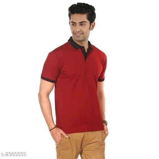 Polyester Men's Collar T-Shirt (Red)