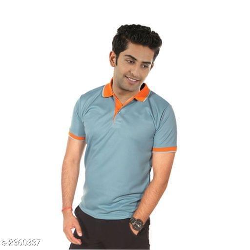 Polyester Men's Collar T-Shirt (cyan)