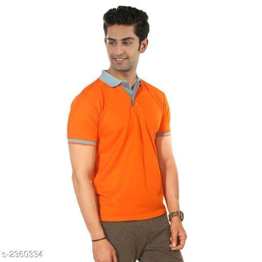 Polyester Men's Collar T-Shirt (Vivid red)