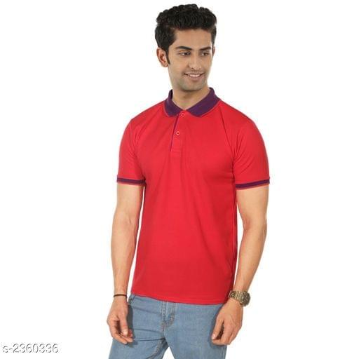 Polyester Men's Collar T-Shirt (Bright red)