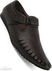 Black Leatherette Slip On Sandals