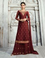 Ruhame Admirable Blood Red colour Semi-stitched Plazzo Style Salwar Kameez