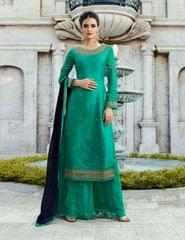 Ruhame Impressive Firozi color Semi-stitched Plazzo Style Salwar Kameez