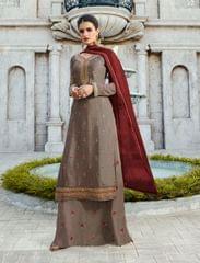 Ruhame Charming Dusty Grey colour Semi-stitched Plazzo Style Salwar Kameez