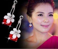 Popmode Silver Plated Red Crystal Flower Hoop Earrings for Women
