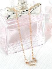 Popmode Gold Plated Cubic Zirconia Studded Women's Heart Pendant Delicate Chain Necklace