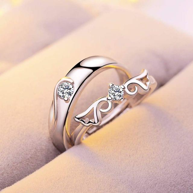 Popmode Alloy Silver Solid Centre Solitaire Feather Design Adjustable Couple Ring for Women