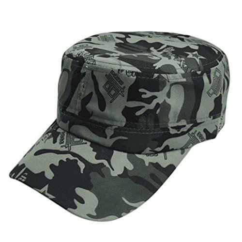 Popmode Hat Men's Summer Military Jungle Cotton Camouflage Flat Cap