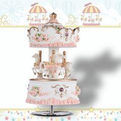 Muslady Laxury Windup 3-horse Carousel Music Box