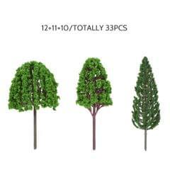 33pcs Mini Plastic Green Trees Scale Architectural Models