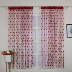 2Pcs 100*200cm Novelty Heart Decor Window Room Line Curtain