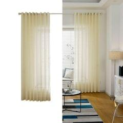 Sheer Voile Window Curtain with Ring Rod for Kitchen,