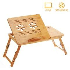 Foldable Bamboo Laptop Desk Stand Breakfast Serving Bed Tray - With cooling fan(Medium)