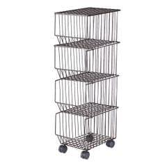 Movable Iron Storage Shelf 4 Layer Tier Drying Mesh Basket