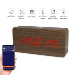 LED Digital Wooden Alarm Clock APP Control Time/