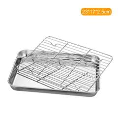 Stainless Steel Flat Bottom Baking Tray with Mesh Set Square