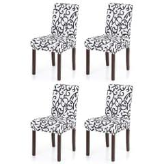 4pcs Stretch Removable Washable Short Dining Seat Cover Soft