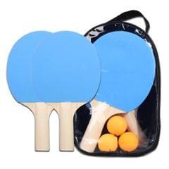 Lightweight Table Tennis Racket and Balls Set Powerful Short - 4pcs blue table tennis racket