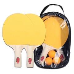 Lightweight Table Tennis Racket and Balls Set Powerful Short - 4pcs yellow table tennis racket