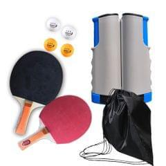 Portable Retractable Extendable Ping-Pong Mesh Rack Bat Set - white & blue