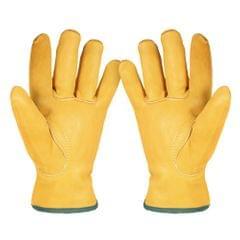 Leather Working Gloves Men's Work Cowhide Gloves Gardening - M