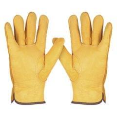 Leather Working Gloves Men's Work Cowhide Gloves Gardening - L