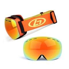 Magnetic Snowboard Snow Goggles Double-Layer Anti Fog Lens - Orange frame&true red film&orange band